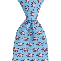 Printed Silk Tie, Elephant - Sky and Pink