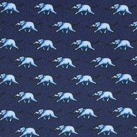 Printed Silk Tie, Elephant - Navy and Mid Blue