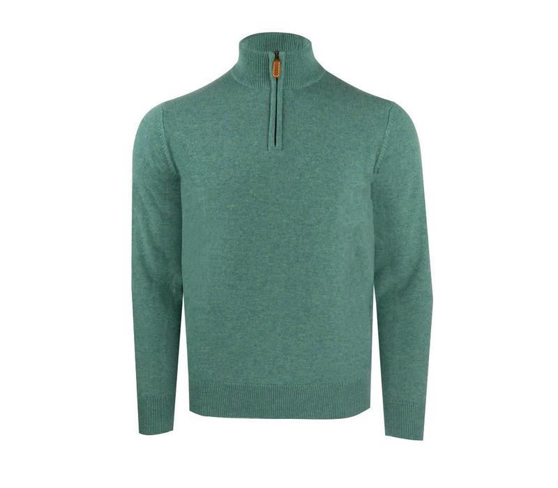 Zip Cashmere Shooting Sweater - Lovat
