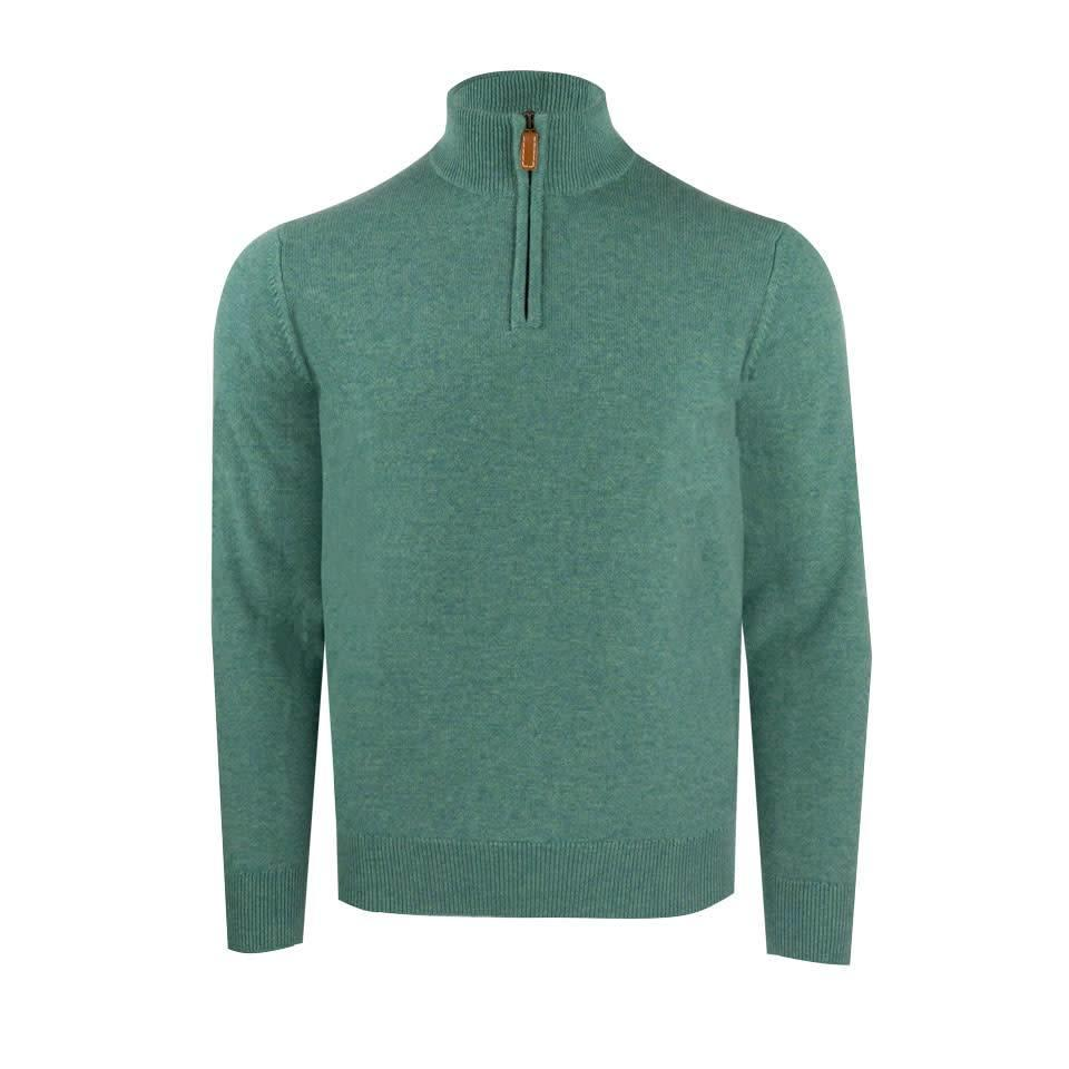 Zip Cashmere Shooting Sweater - Lovat