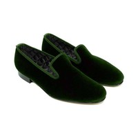 Embroidered Velvet Slippers - Green