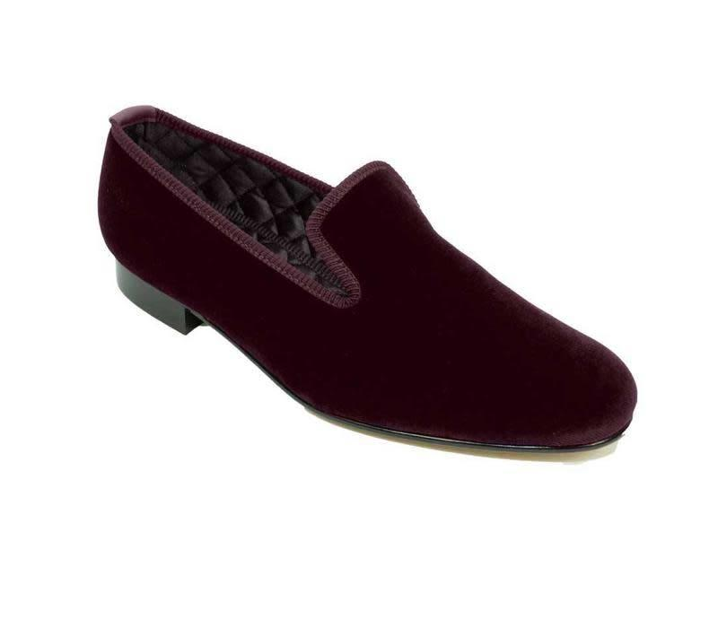 Embroidered Velvet Slippers - Wine