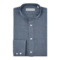 Cashmere Blend Collarless Shirt - Navy