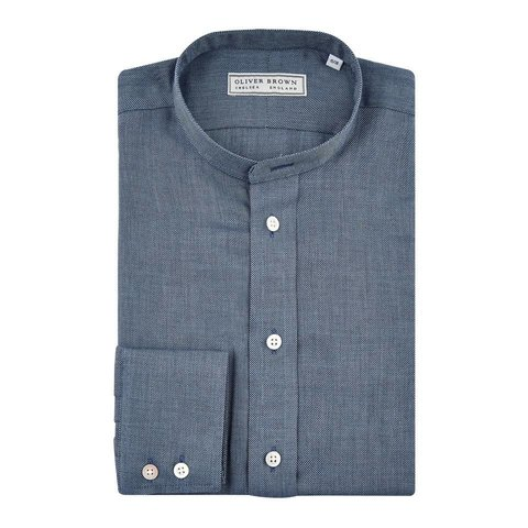 Cashmere Blend Collarless Shirt - Navy