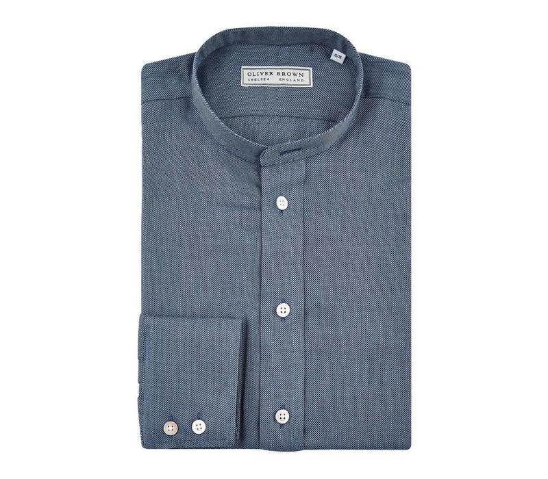 Cashmere Blend Nehru Shirt - Navy