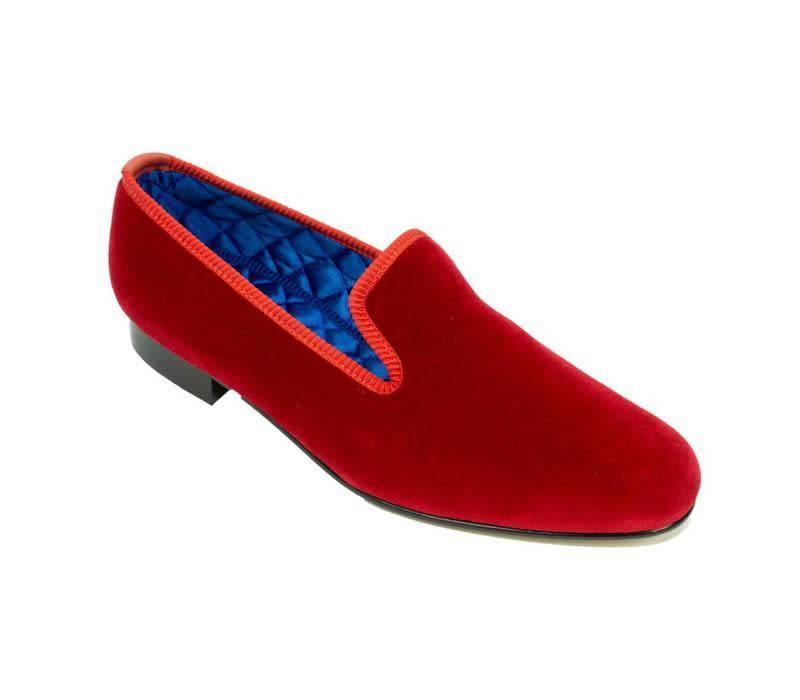 Monogrammed Velvet Slippers - Red