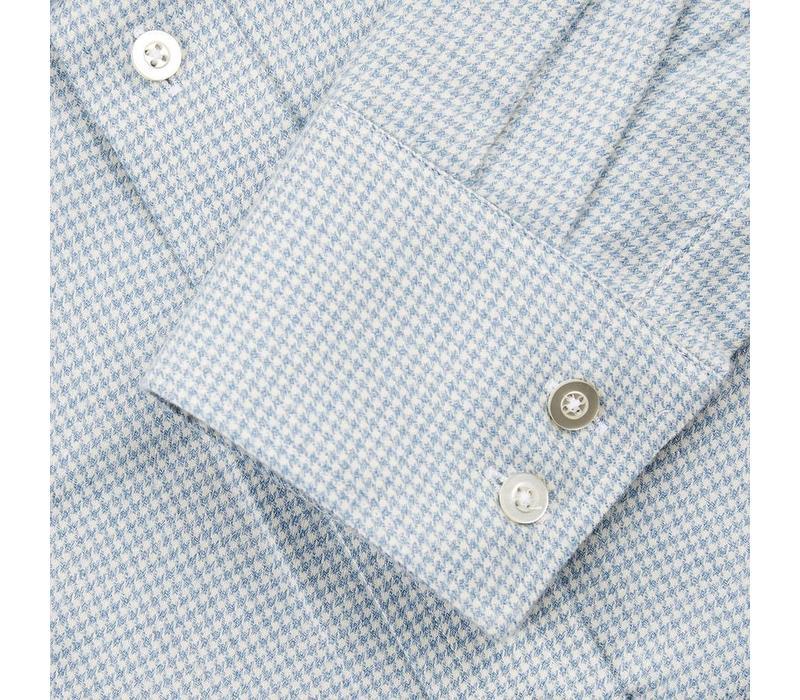 Cashmere Blend Shirt Houndstooth - Sky