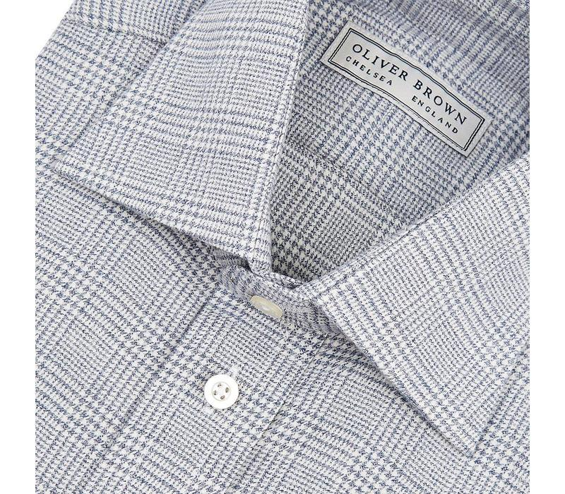 Cashmere Blend Country Shirt, Prince of Wales - Grey
