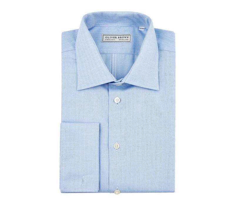 Herringbone City Shirt, Slim Fit - Sky Blue