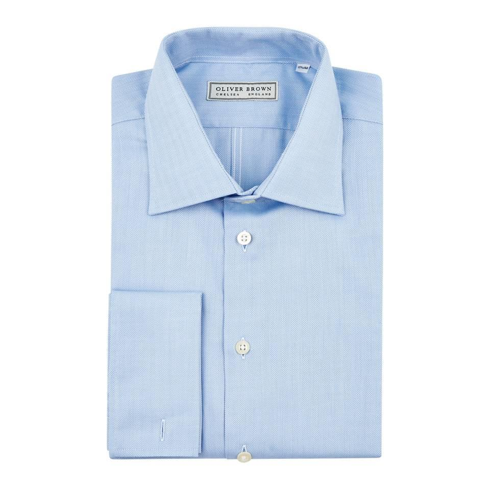 Herringbone City Shirt, Slim Fit - Sky Blue