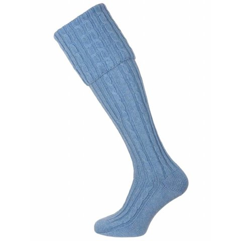 Skye Cashmere Shooting Socks - Pale Blue