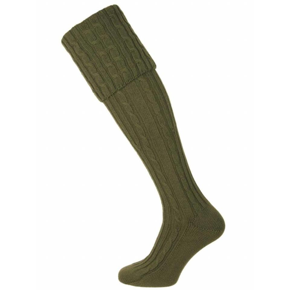 Skye Cashmere Shooting Sock - Green Burn