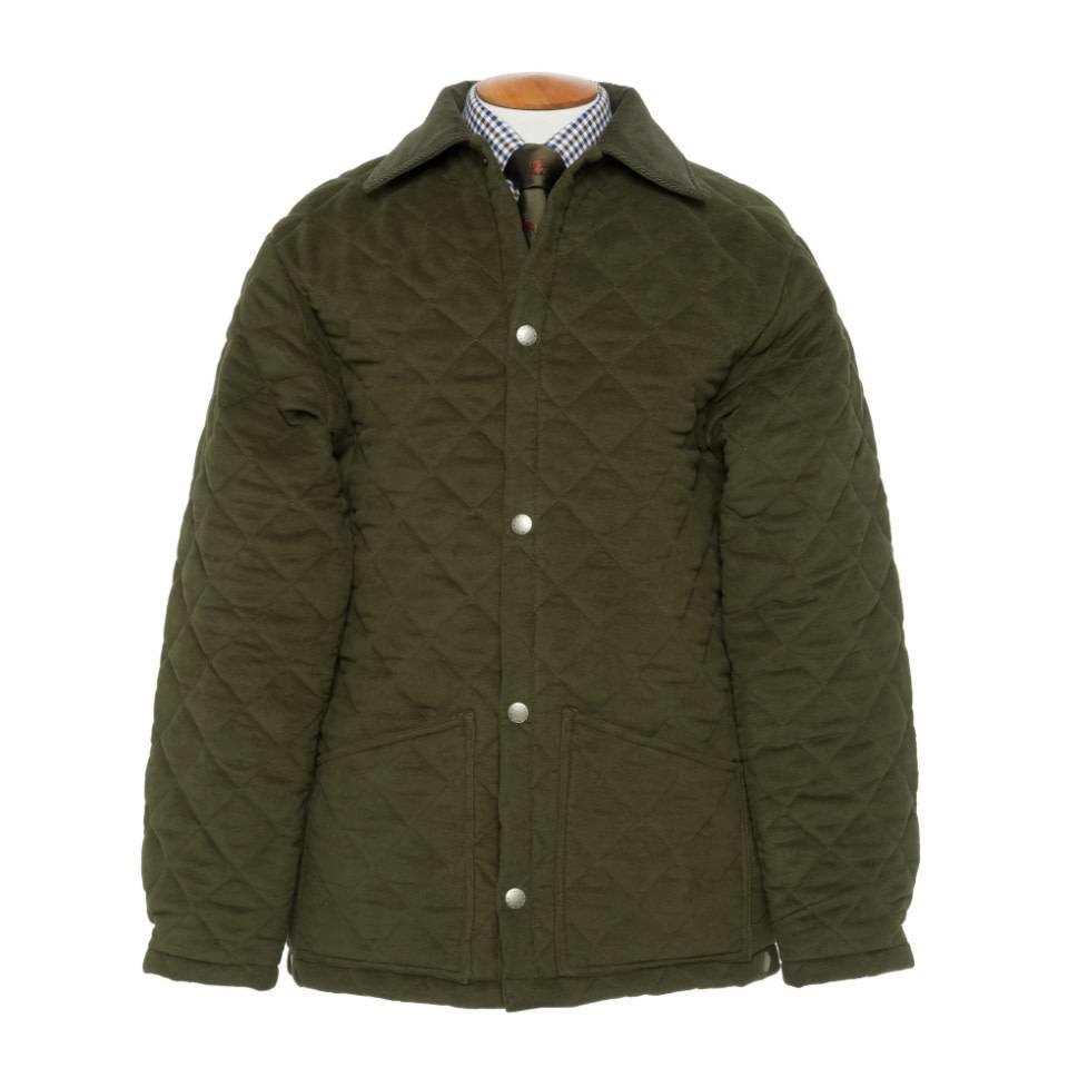 Ladies Quilted Moleskin Jacket - Olive