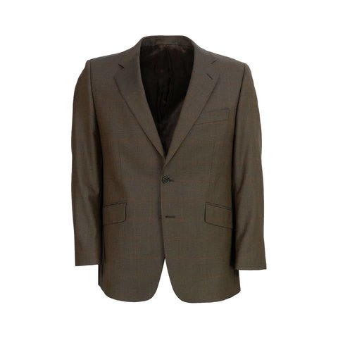 Single Breasted Lightweight Jacket - Brown with Overcheck