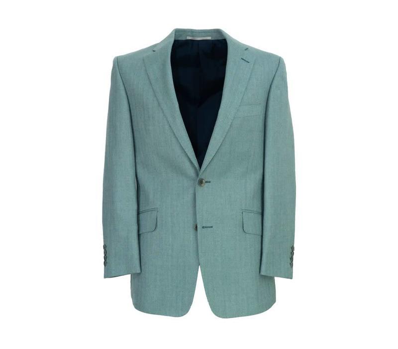 Single Breasted Herringbone Jacket - Teal