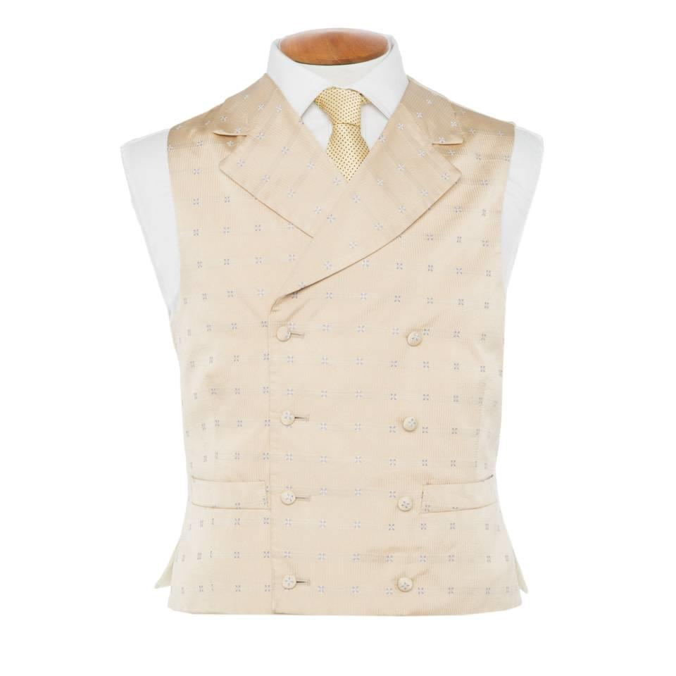 Double Breasted Silk Patterned Waistcoat - Cream