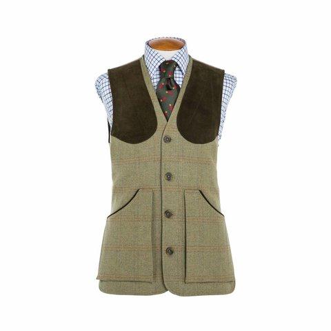 Tweed Shooting Waistcoat - Red/Orange Overcheck