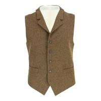 Single Breasted Tweed Waistcoat - Brown Herringbone