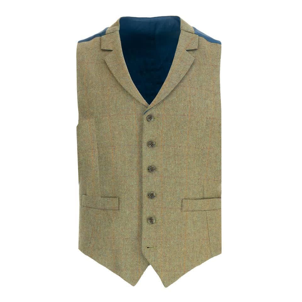 Single Breasted Tweed Waistcoat - Red/Orange Overcheck