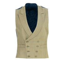 Lightweight Double Breasted Tweed Waistcoat - Blue Overcheck