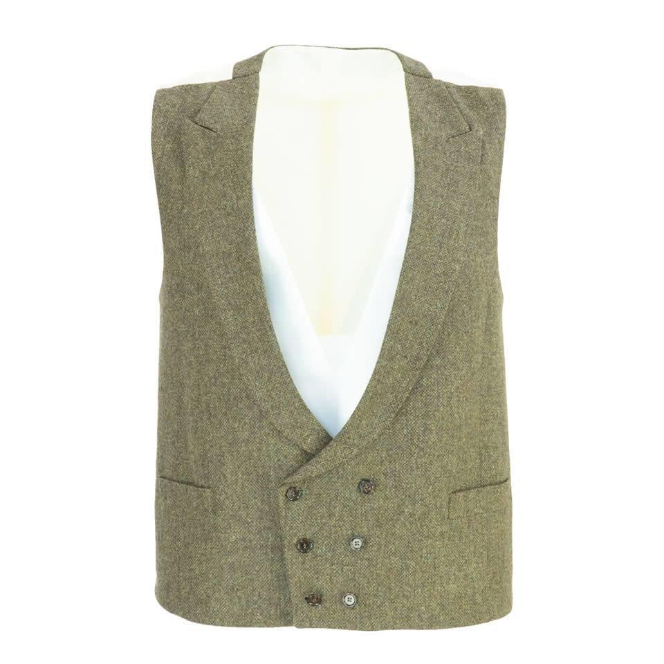 Double Breasted Tweed Waistcoat - Brown