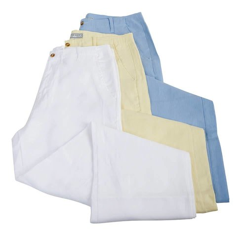 Loose Fit Linen Trousers - White