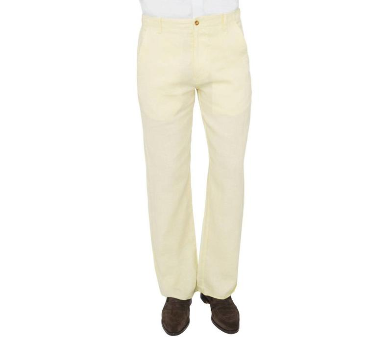 Loose-Fit Linen Trousers - Lemon