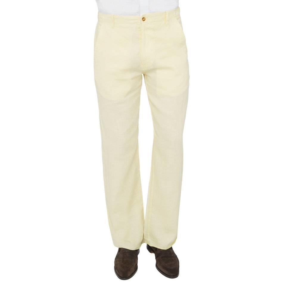 Loose-Fit Linen Trousers - Lemon