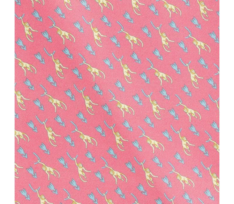 Silk Monkey Pocket Square -Pink