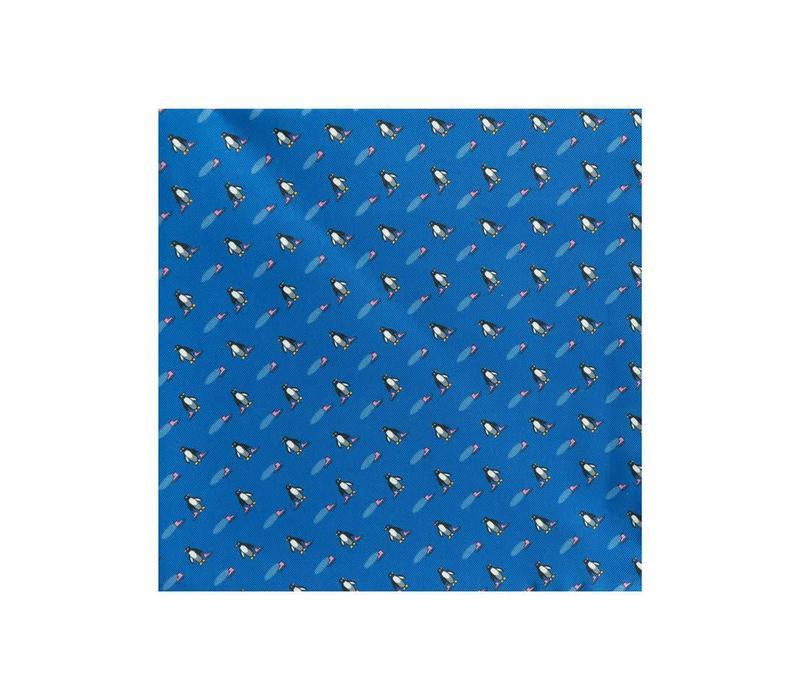 Silk Penguin Pocket Square - Navy