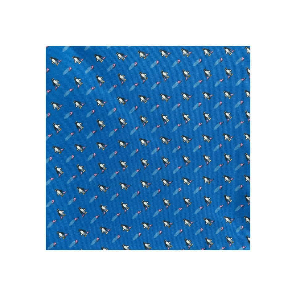 Silk Penguin Pocket Square - Navy