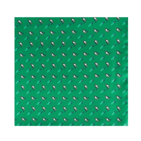Silk Penguin Pocket Square -Green