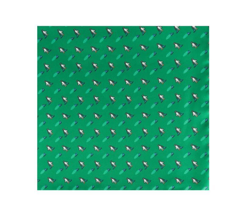 Silk Penguin Pocket Square -Green