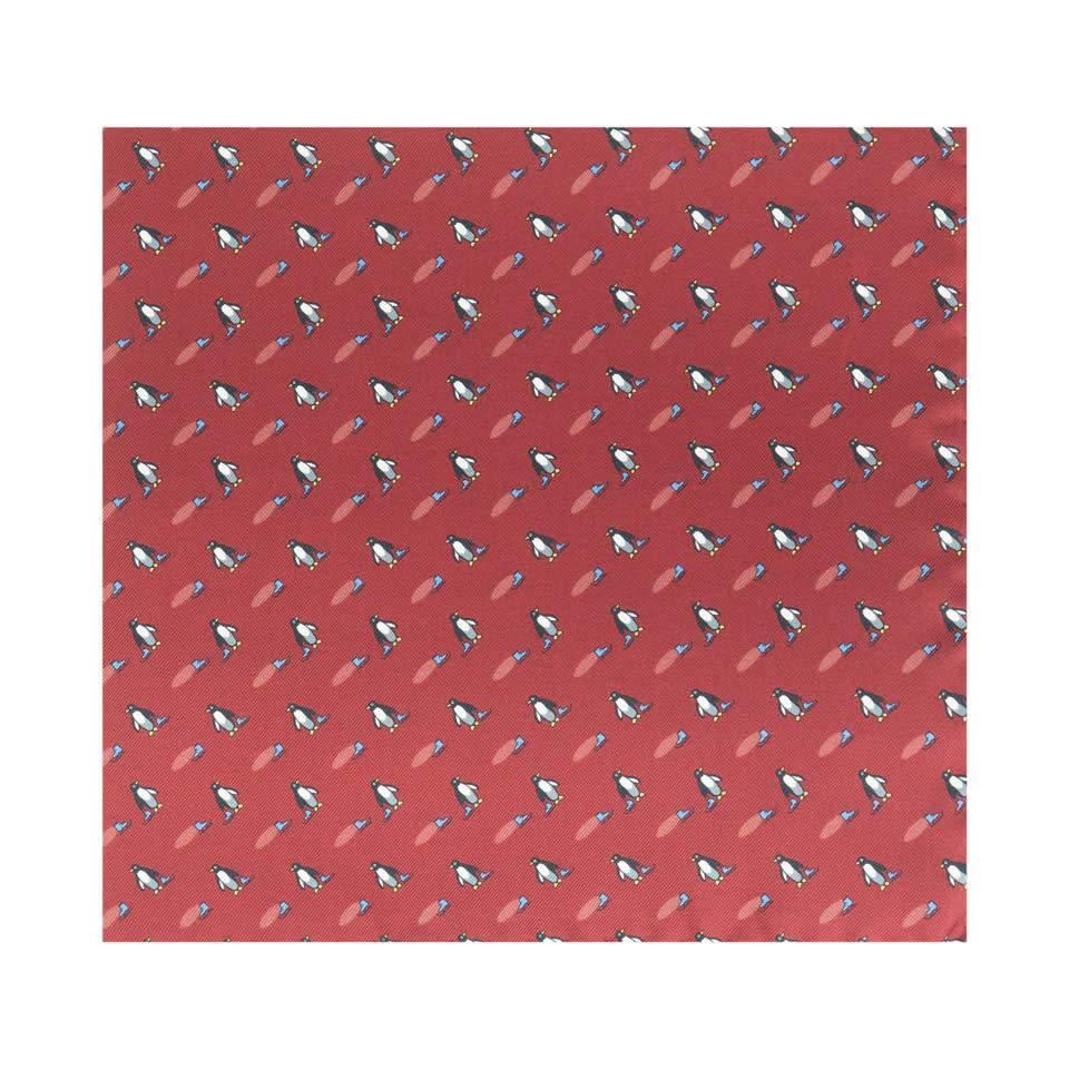 Silk Penguin Pocket Square - Wine