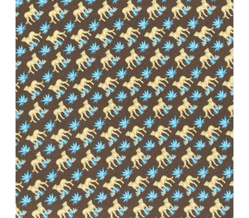 Silk Leopard Pocket Square - Brown