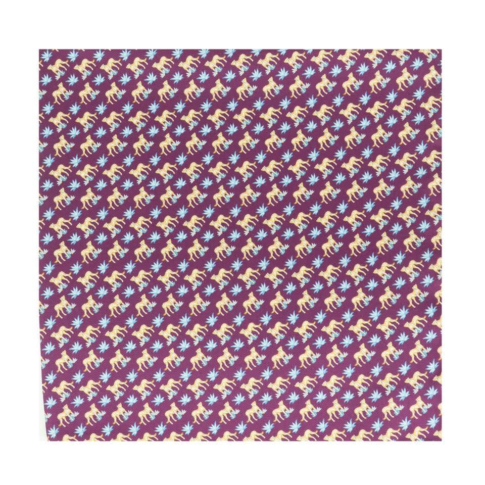 Silk Leopard Pocket Square - Purple