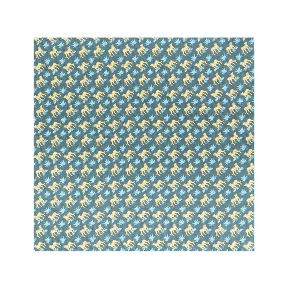 Silk Leopard Pocket Square - Grey