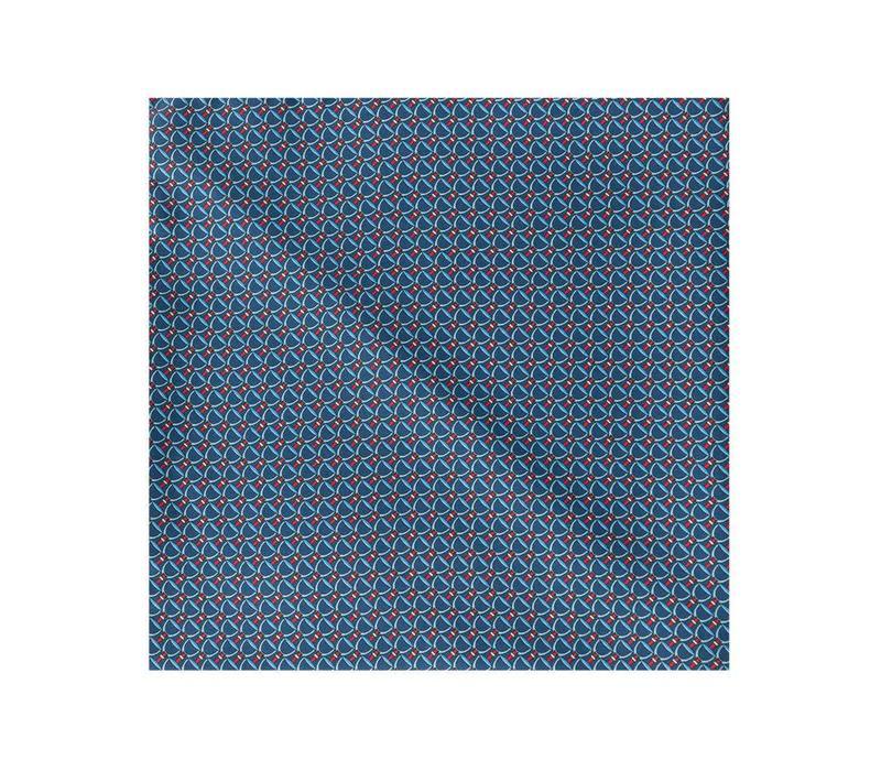 Silk Stirrup Pocket Sqaure -Navy/Red