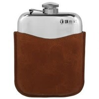 6oz Captive Top Hip Flask With Brown Pouch
