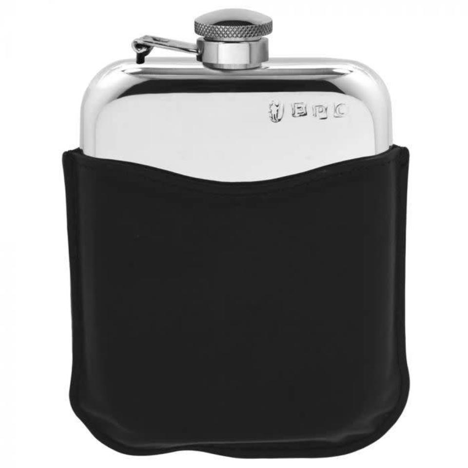 6oz Captive Top Hip Flask With Black Pouch