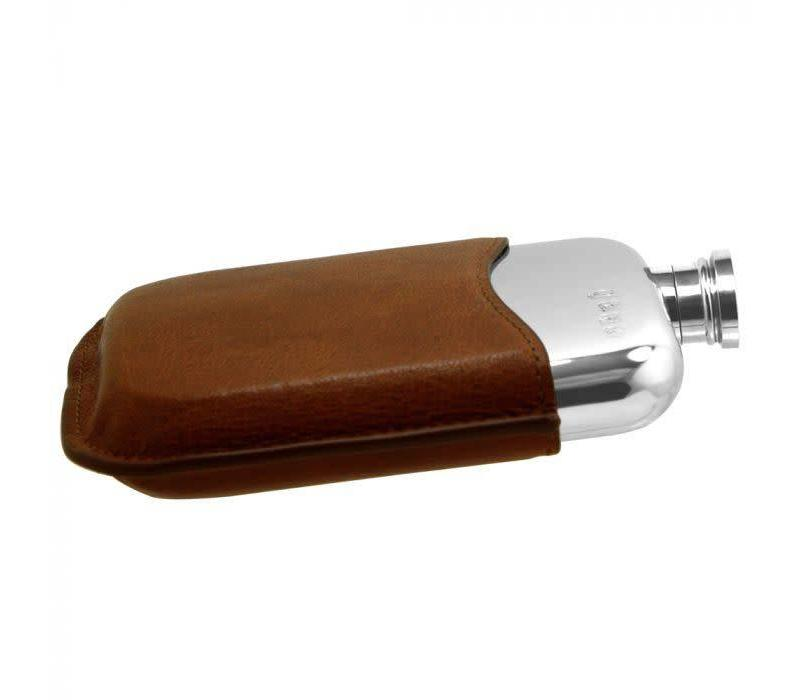 6oZ Hip Flask With Brown Pouch