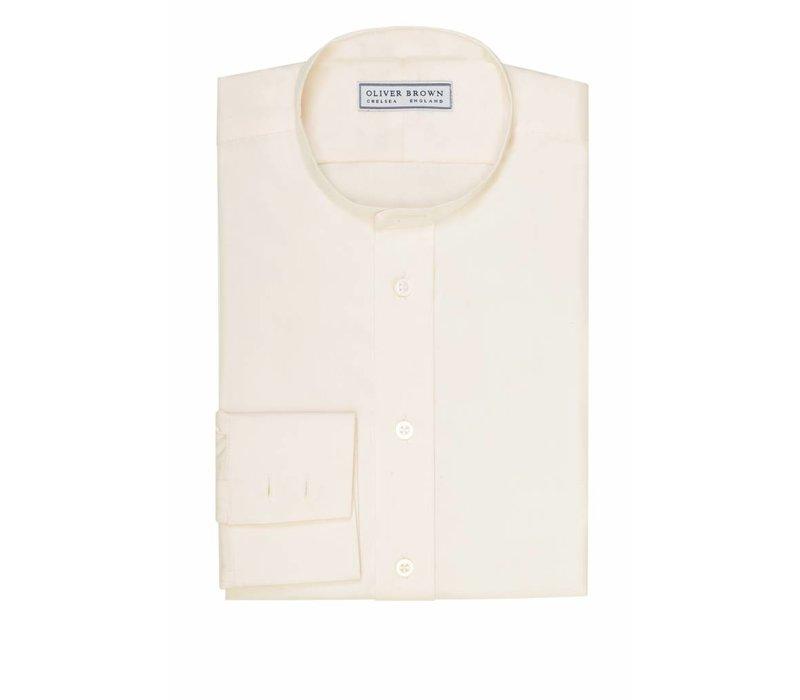 Mandarin Collar Silk Shirt - Cream