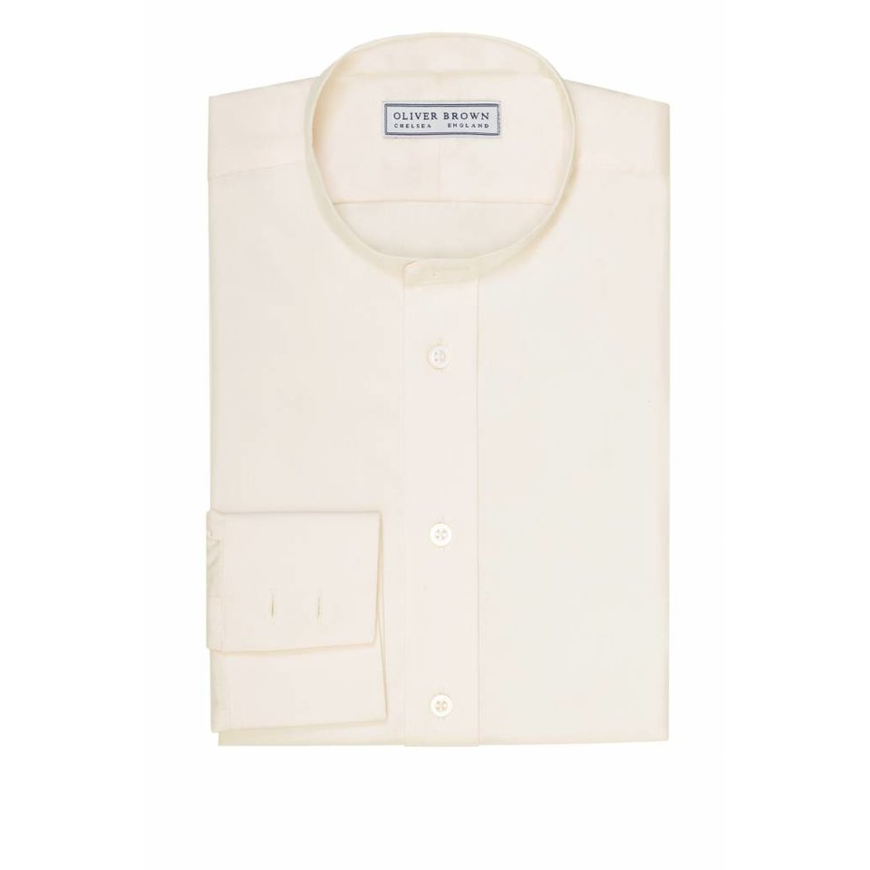 Mandarin Collar Silk Shirt - Cream