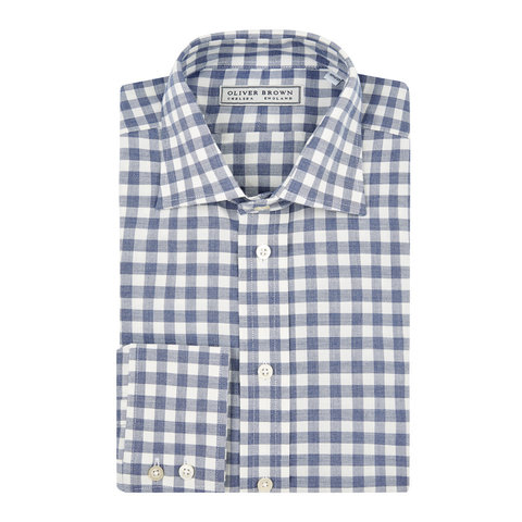 Brushed Cotton Checked Shirt - Navy
