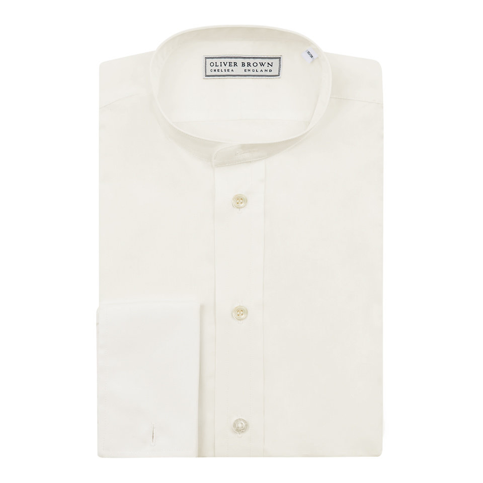 Collarless Shirt - Cream