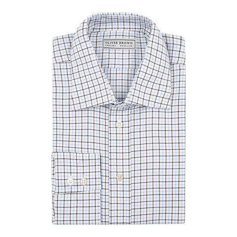 Country Checked Shirt - Brown/Sky