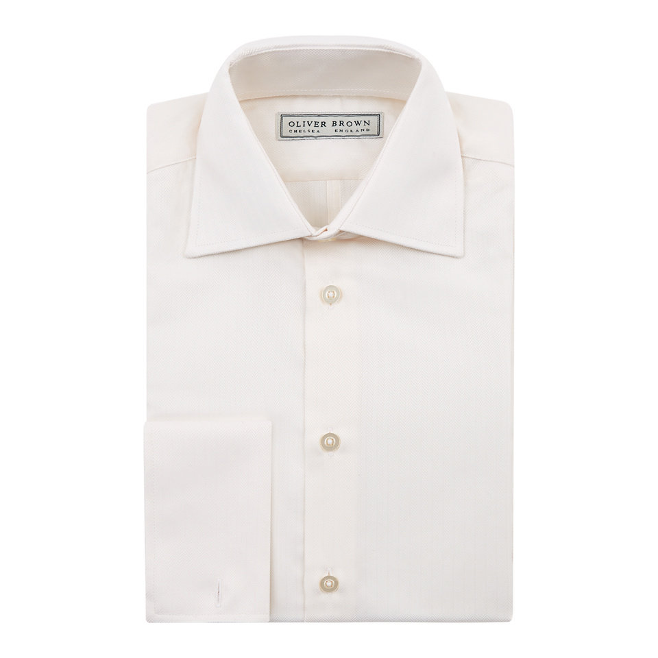 Herringbone City Shirt, Slim Fit - Cream