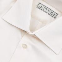 Herringbone City Shirt, Slim Fit - Cream