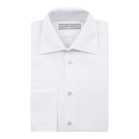 Herringbone City Shirt, Slim Fit - White