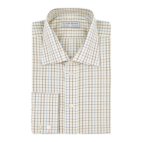 Tattersall Checked Shirt - Blue/Brown